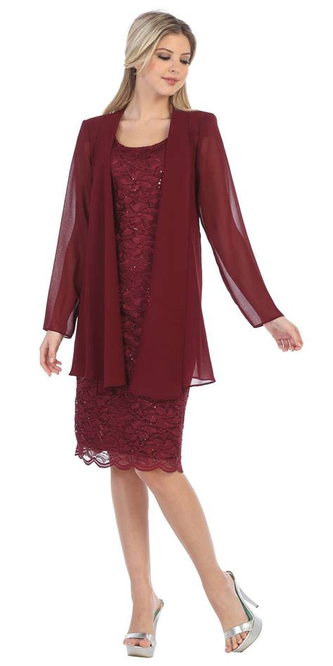Blazer Lace Maroon sally fashion 8852 lace knee length semi formal dress with sleeve jacket burgundy
