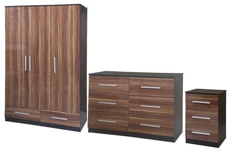 New Lotus Super High Quality Walnut Gloss Black Large Quality Bedroom Furniture Uk