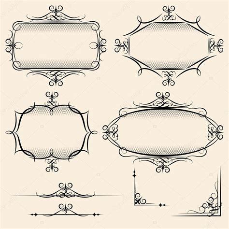 cornici eleganti quattro cornici d epoca elegante vettoriale vettoriali