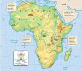 africa map rivers lakes mountains physical map that shows the mountain ranges rainforest desert rivers and the sahel located