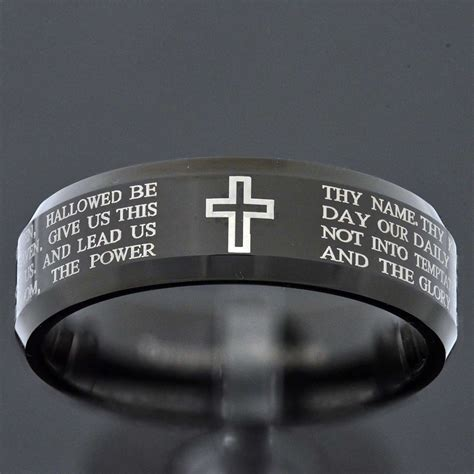 Black Titanium Christian Lord S Prayer Bible Cross Ring 8mm black tungsten jewelry lord christian cross bible etch s wedding band ebay