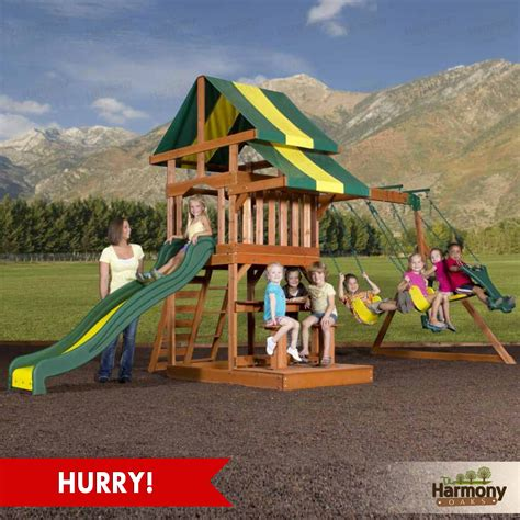 outdoor kids swing set wooden set swing playground play slide swingset outdoor