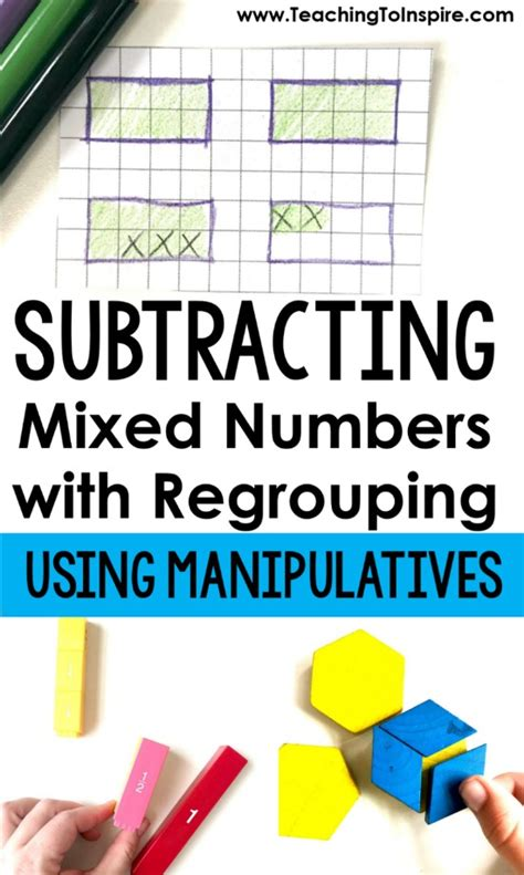 mixed numbers pattern blocks subtracting mixed numbers with regrouping using
