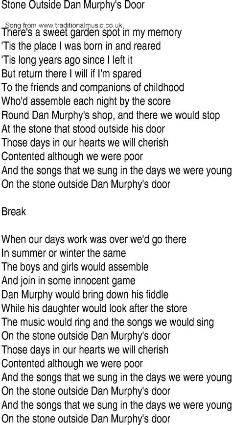 On The Patio Lyrics by Song And Ballad Lyrics For Outside Dan
