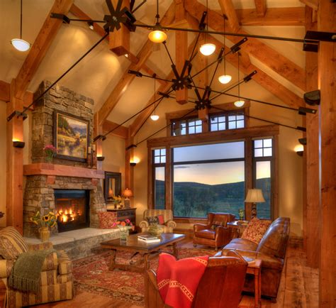 lodge trout creek great room rustic living room denver brooks design build