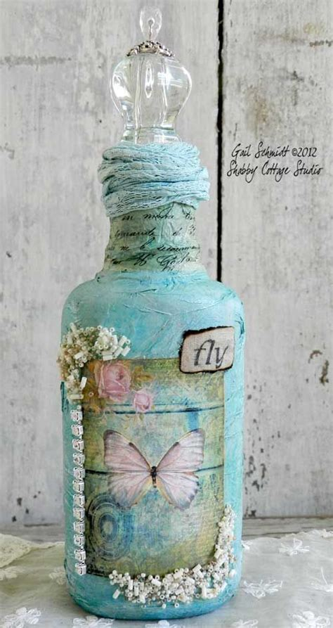 Decoupage Bottle Ideas - decorate a bottle so pretty craft ideas