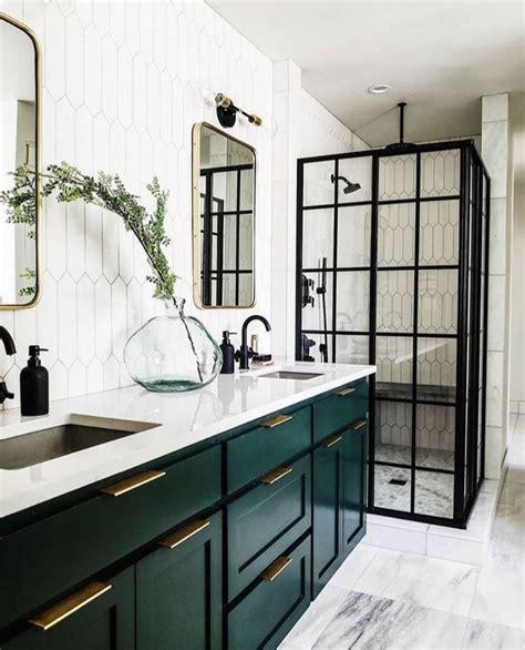 love  dark green cabinets   bathroom