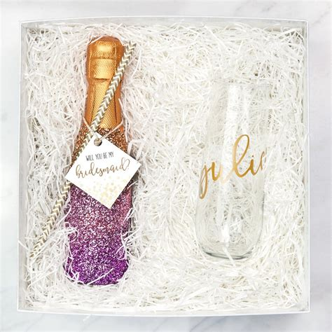 Handmade Bridesmaid Gifts - diy glitter chagne bottle bridesmaid with
