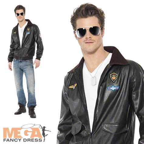 mens official top gun bomber jacket 80s army fancy dress costume s top gun bomber jacket fancy dress costume 1980s 80s accessory ebay