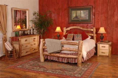 create a cabinesque bedroom with cabin log beds