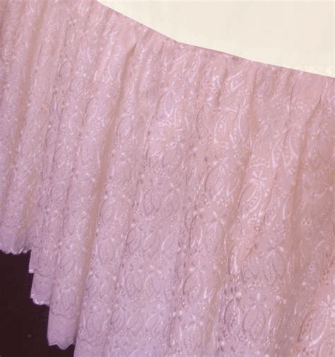 scalloped bed skirt pink scalloped edge eyelet ruffled bedskirt