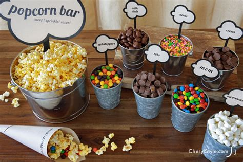 diy popcorn bar with printable labels cherylstyle