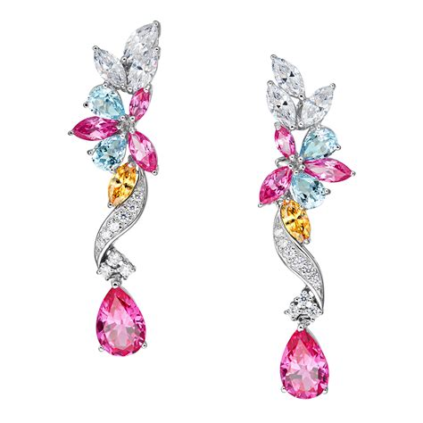 Pink Earring georgette floral drop pink earrings ciro jewelry black tie
