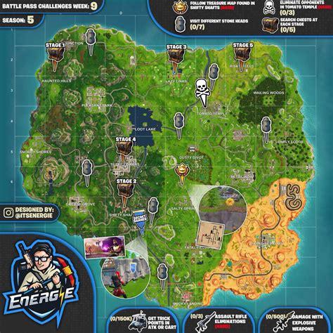 cheat sheet map  fortnite season  week  challenges