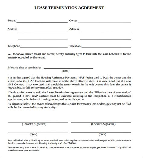 Termination Of Agreement Letter Format Lease Termination Agreement 9 Sles Exles Format