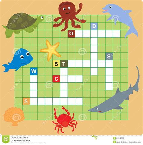 sea crossword sea animal puzzle crossword royalty free stock images image 24842799