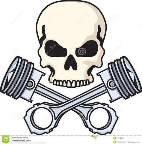 skull and pistons stock vector illustration of bones
