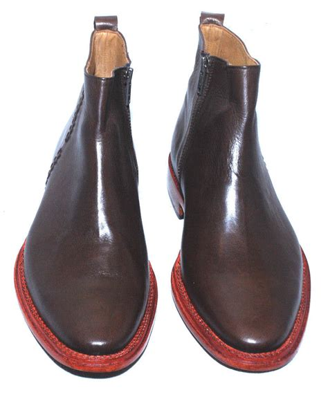 Handmade Mens Leather Shoes - handmade mens brown color chelsea derby leather formal