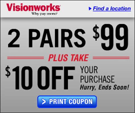 visionworks eyeglasses coupon 2 pairs for 89 that