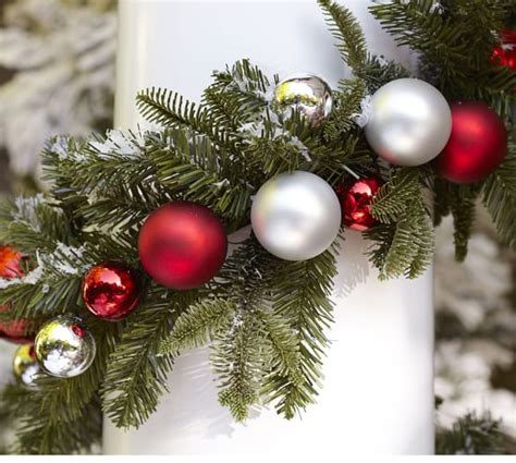 indoor outdoor ornament pine garland red silver