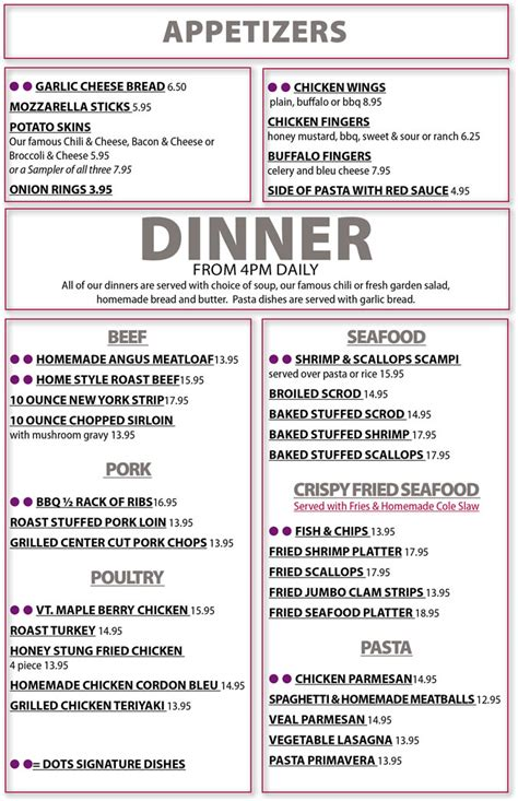 supper menus dinner menu gallery