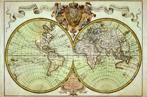 Kitchen Collectables Store by Large Historic 1720 World Map Old Antique Style Fine Art