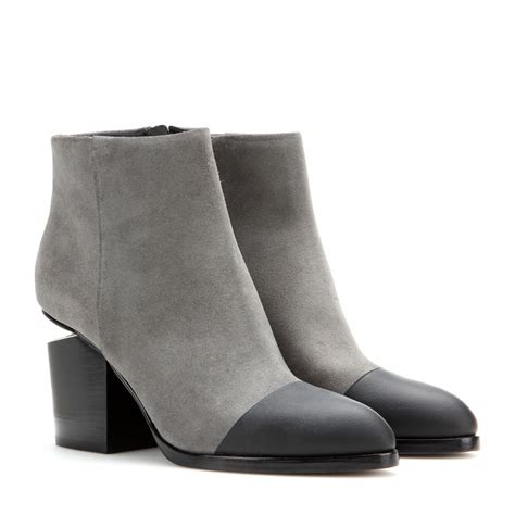 wang gabi suede ankle boots in gray lyst