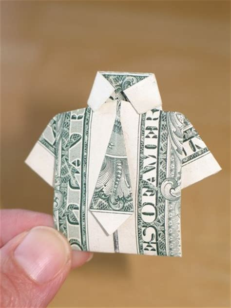 Money Origami Shirt With Tie - paper money origami with american dollar bills shirt