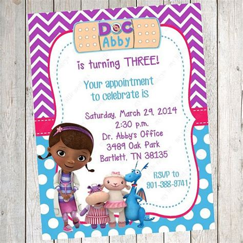 doc mcstuffins birthday card template doc mcstuffins invitations free printable