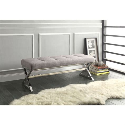 Living Room Benches - modern living room metal bench with button tufted grey