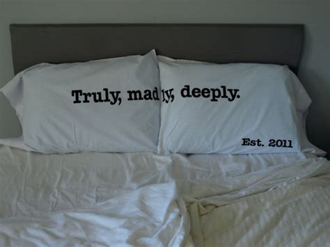 Bed Comforters With Quotes Truly Madly Deeply Pillow From Osusannahs On Etsy