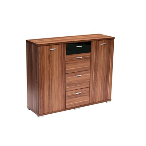 Fargo Furniture by Fargo Sideboard Walnut Veneer With Black High Gloss Top