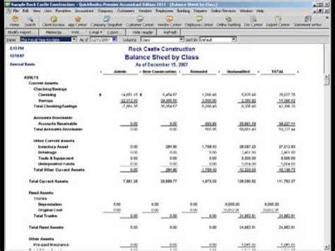 2011 qb balance sheet by class