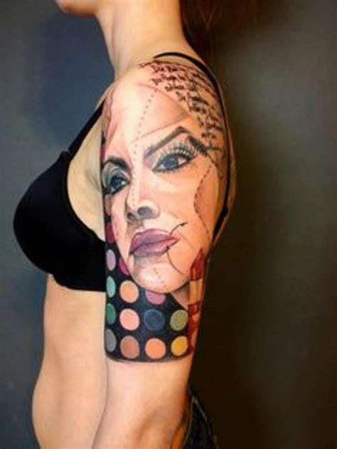 woman s face tattoo kraus arm sleeve with s
