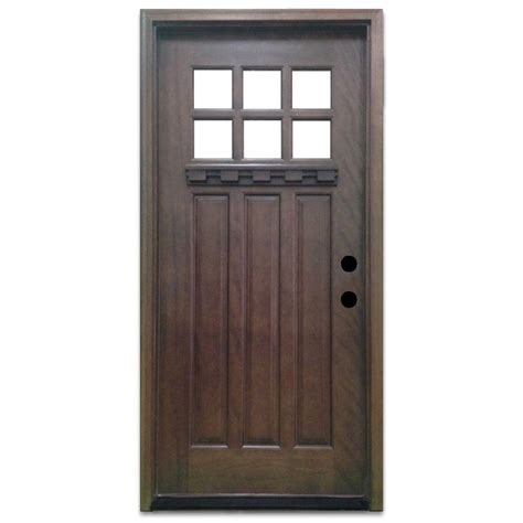 Craftsman Doors Exterior Steves Sons 36 In X 80 In Craftsman 6 Lite Stained Mahogany Wood Prehung Front Door M3306 6