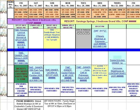 disney itinerary planner template vacation day itinerary