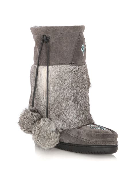 mukluks boots manitobah mukluks suede and rabbit fur boots in gray grey