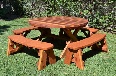 round table and bench round wood picnic table with wheels forever redwood