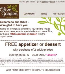 olive garden coupons email olive gardens new coupon printable coupons online