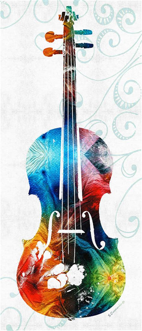 colorful violin wallpaper colorful violin art by sharon cummings painting by sharon