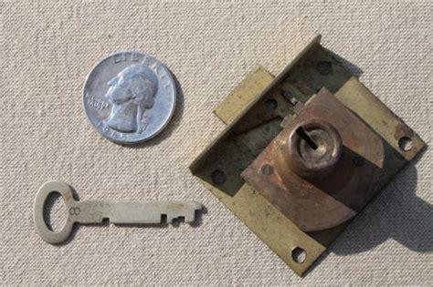 antique brass lock skeleton key vintage half mortise