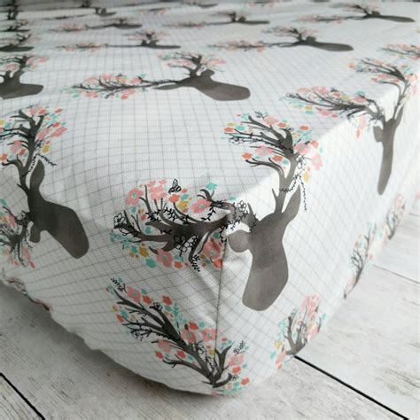 stag with flowers fitted crib sheet woodland deer crib