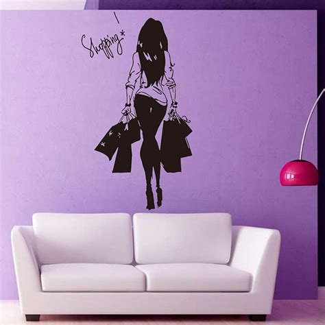 shopping wall stickers removable shopping wall stickers room decoration in