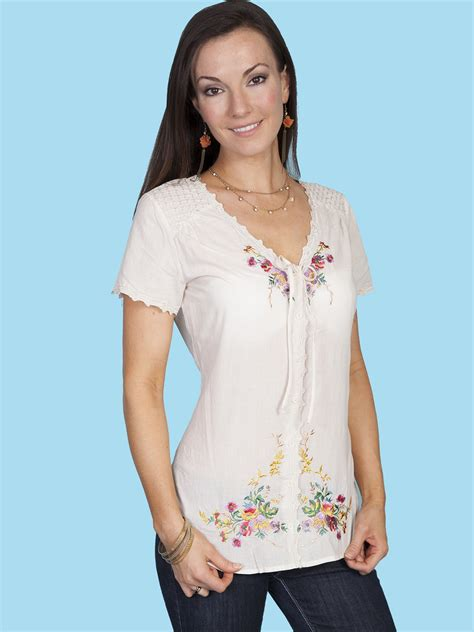 Embroidery Sabrina Blouse 5 scully 174 s embroidered lace sleeve western blouse