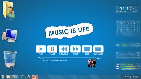download themes windows 7 music music is life blued windows 7 rainmeter skin