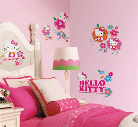 hello kitty bedroom decor 39 new hello kitty floral boutique wall decals girls