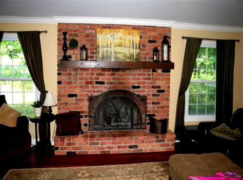 Living Room Ideas Brick Fireplace Neutral Traditional Living Room With Brick Fireplace