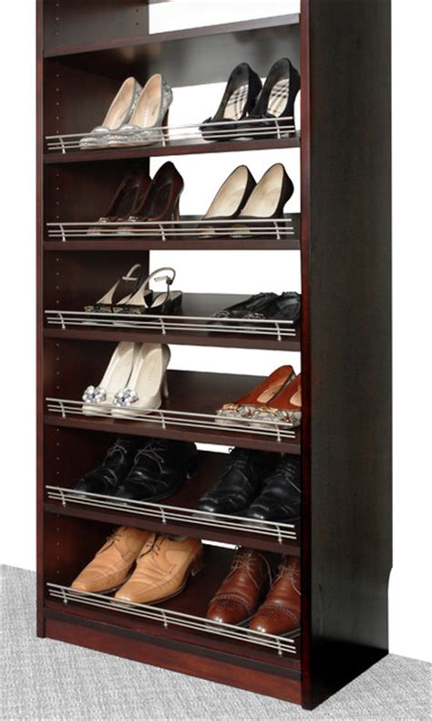 Closet Shoe Shelves Wood by Closet Organizers Shoe Rack With Fence By Solid Wood