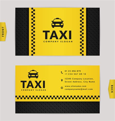 taxi name card template taxi business card yellow with black color vector template
