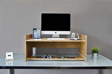turn desk into stand up desk this gorgeous and elegant bamboo gadget will turn any desk